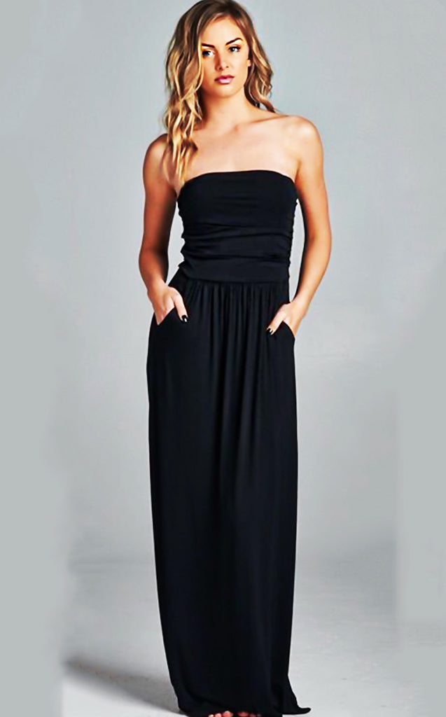 3c7c31ab365 Olivia Black Strapless Maxi Dress