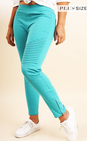 Need You Now Turquoise Moto Jeggings, SMALL