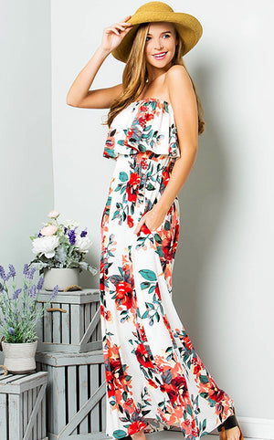 Charmed I'm Sure Floral Maxi Dress