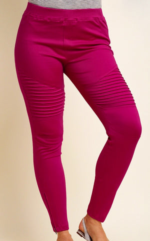 Need You Now Magenta Moto Jeggings, SMALL