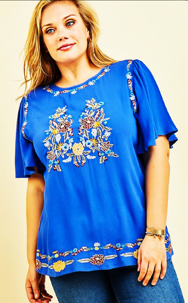 Happy You're Here Blue Embroidered Top, XL in stock!