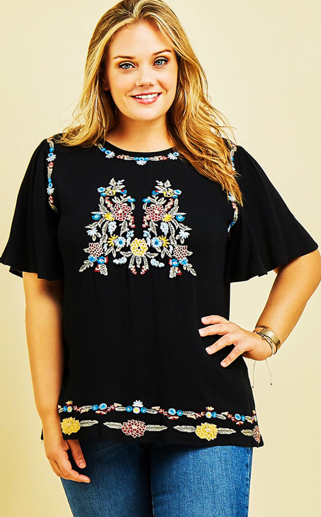 Happy You're Here Black Embroidered Top, CURVY