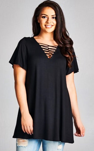 Sydnee Black Ladder Cut Tunic, CURVY