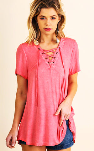 Sweet As Honey Pink Lace Up Top