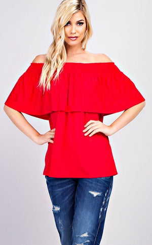 Red Hot Off Shoulder Top