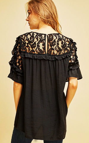 Not So Innocent Black Lace Top, RESTOCKED!!