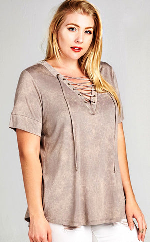 Lace Me Up Taupe Top, CURVY