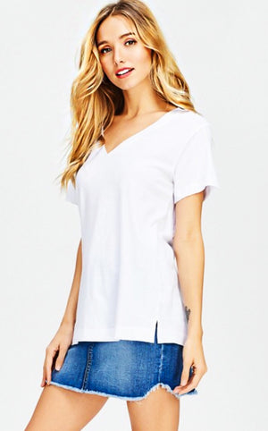 Classic Cotton V-neck Tee, SMALL & MED