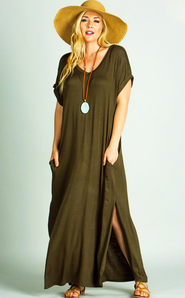7a1c4c99a Maddie T-shirt Maxi Dress Olive, RESTOCKED! - The Coral Cactus Boutique