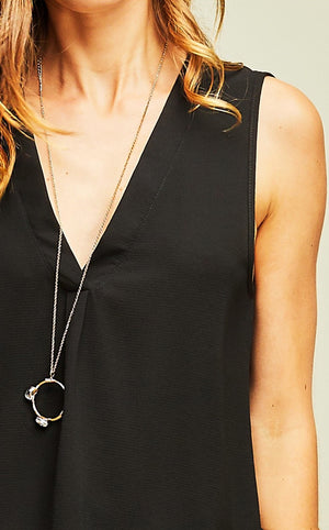 Classic Perfection Black V-neck Top