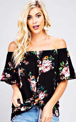 So Sweet Knotted Floral Top - Black