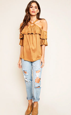 Autumn Stunner Faux Suede Top
