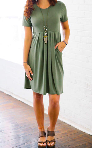Feeling Pretty Olive Knit Dress, SMALL-3X!!