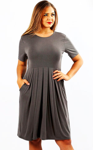 Feeling Pretty Ash Grey Knit Dress, SMALL-3X!!