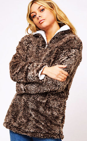 Fuzzy Feelings Brown Sherpa Pullover