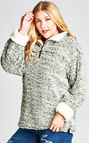 Fuzzy Feelings Olive Sherpa Pullover, 3X