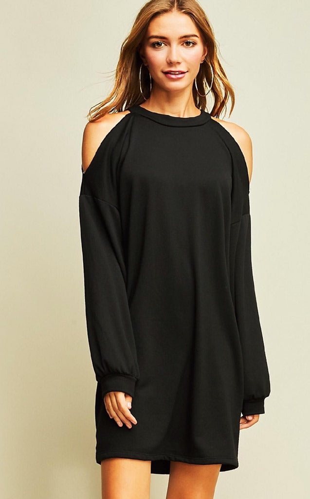 Work Hard Play Harder Black Tunic Dress, SMALL