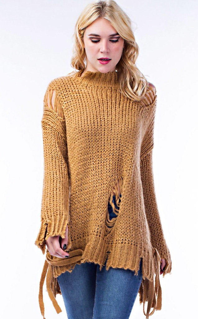 Warm Caramel Latte Distressed Sweater, RESTOCKED!