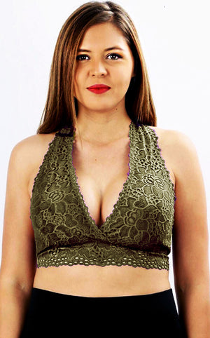Touch Of Lace Bralette - Olive, S-3X