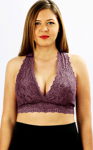 Touch Of Lace Bralette - Eggplant