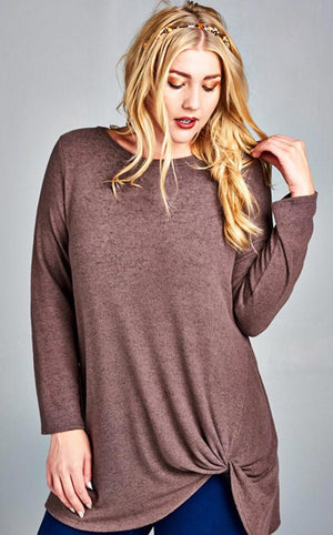 Mocha Moments Knotted Top, SMALL & 3X