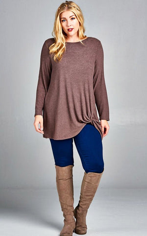 Mocha Moments Knotted Top, CURVY