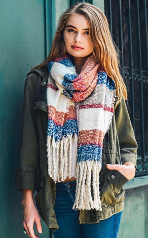 Winter Warmer Tassel Scarf Blue Stripe