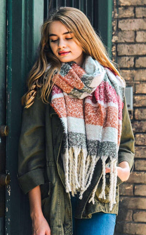 Winter Warmer Tassel Scarf Olive Stripe
