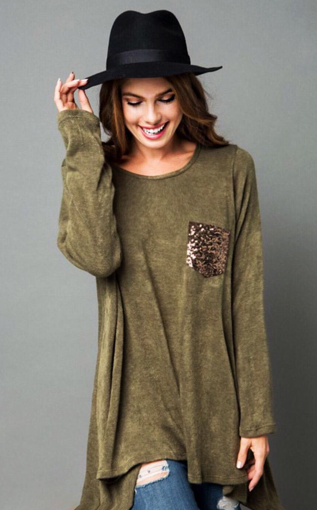 Pocket Full Of Sunshine Olive Sweater, S-L