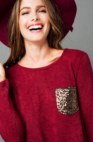 Sequin Pocket Burgundy Sweater, 3X