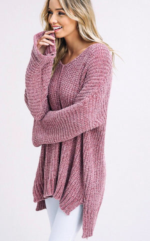 Give Me All The Cozy Mauve Chenille Sweater