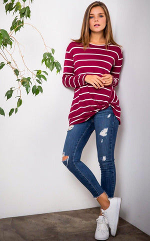 Show Your Stripes Burgundy Top