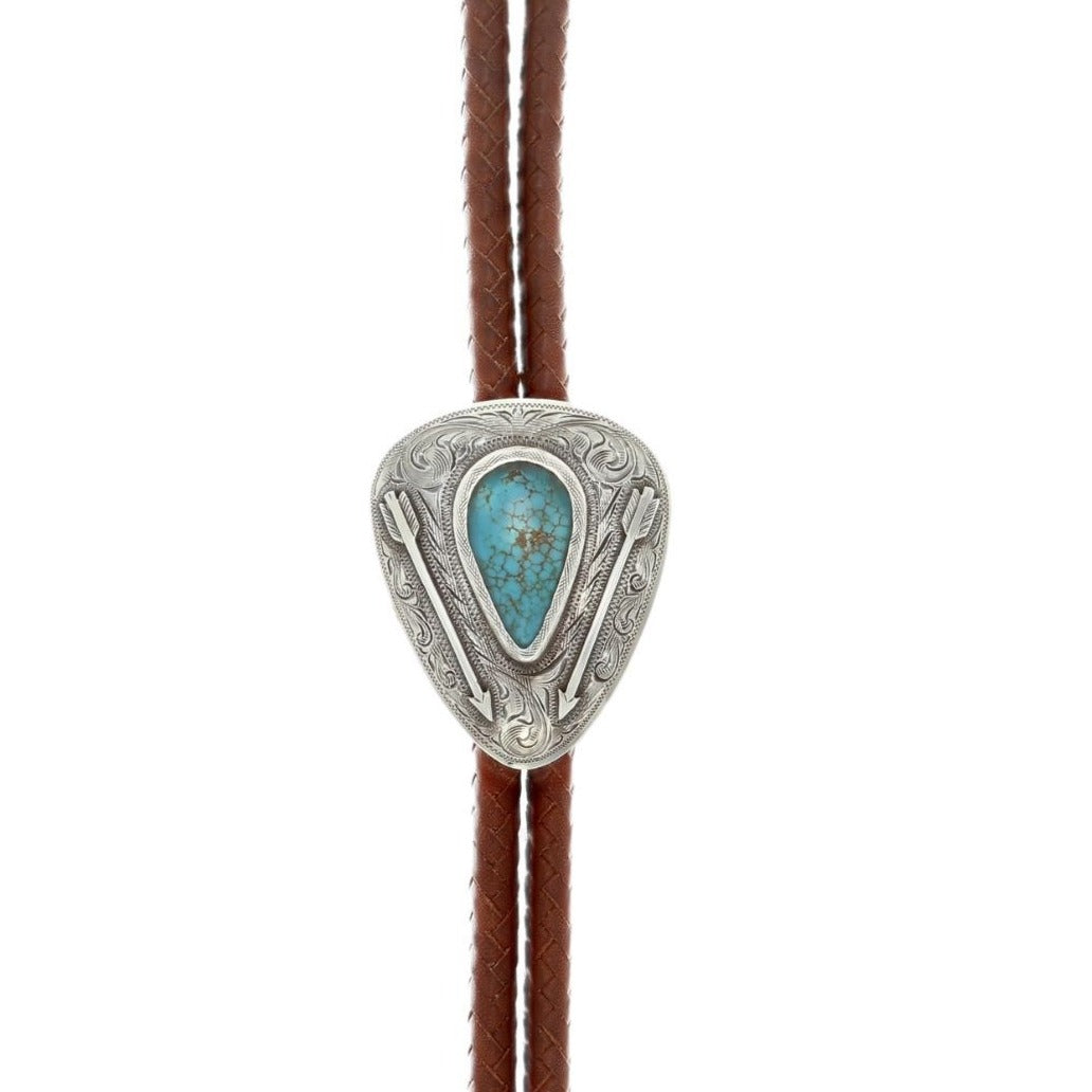 BOLA-1861 Sterling Silver Triangle with Large Kingman Turquoise Cabochon
