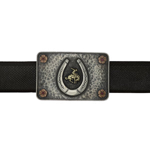 Bowie 1400 Lucky Bucking Bronc Rectangle Trophy Buckle