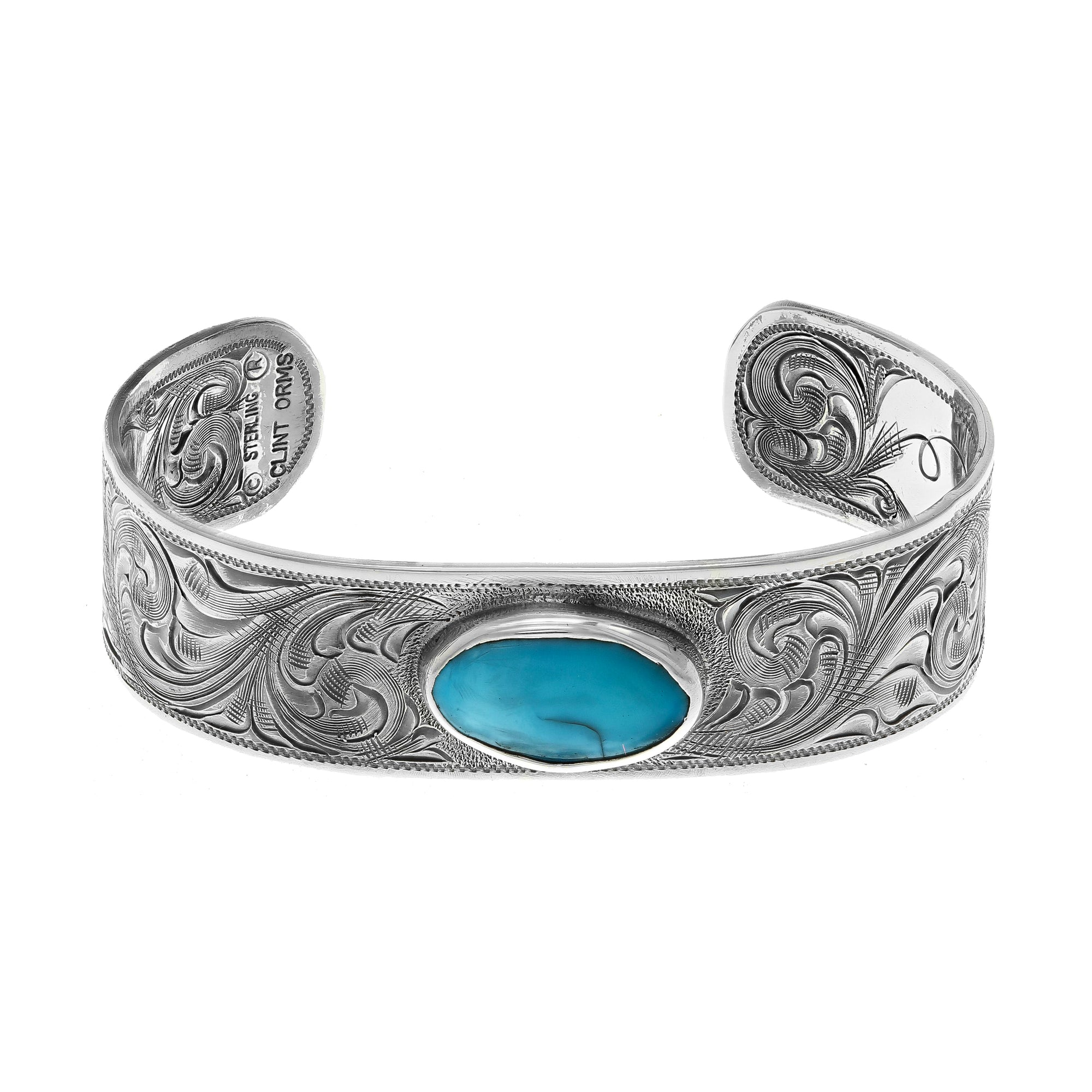 Bracelet 1896 Sterling Silver Engraved with Oval Turquoise