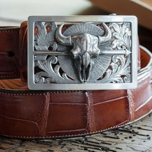 Childress 1805 Sterling Silver Trophy Buckle with Bison Skull and Arrow