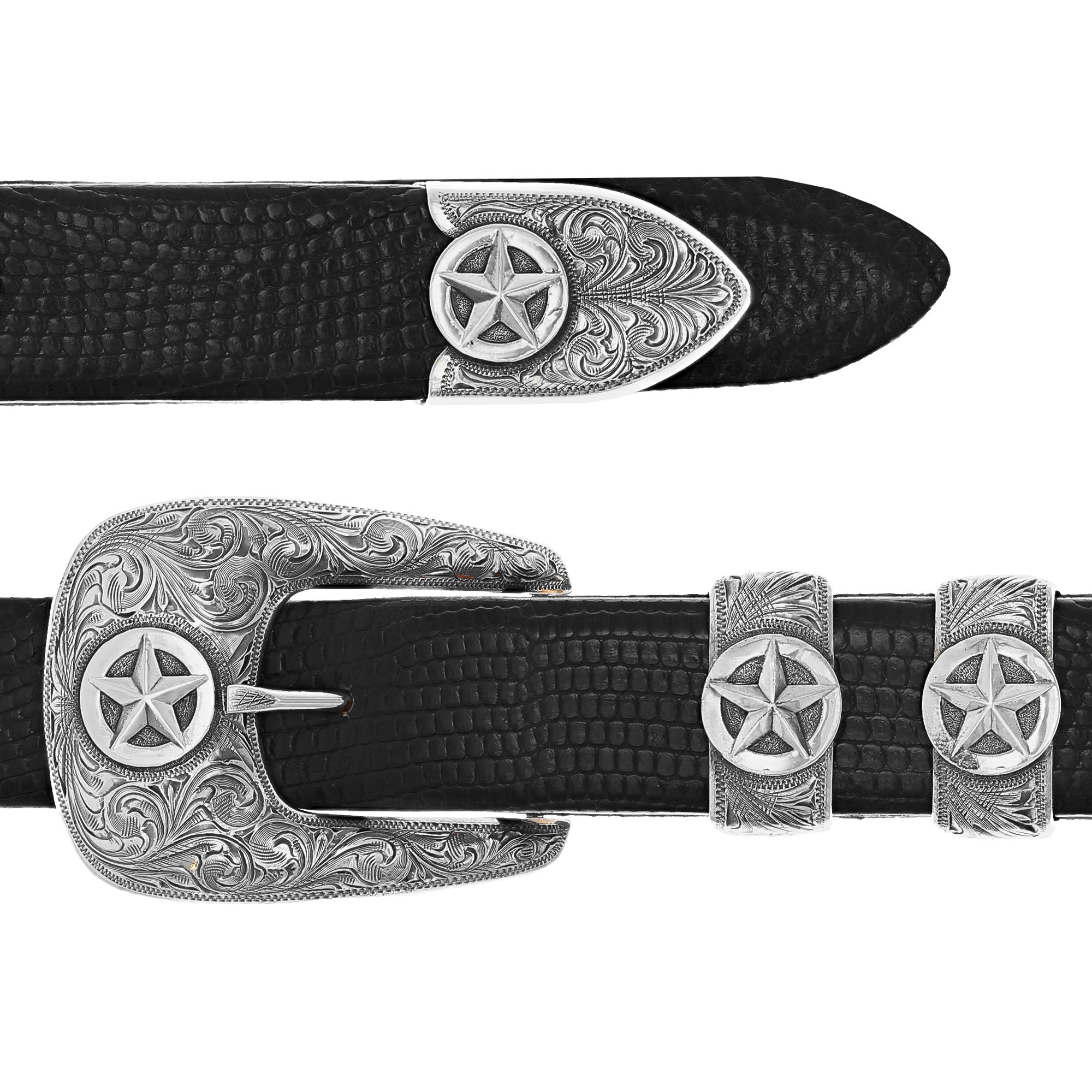 Fort Bend 1801 Sterling Silver Star Buckle Set