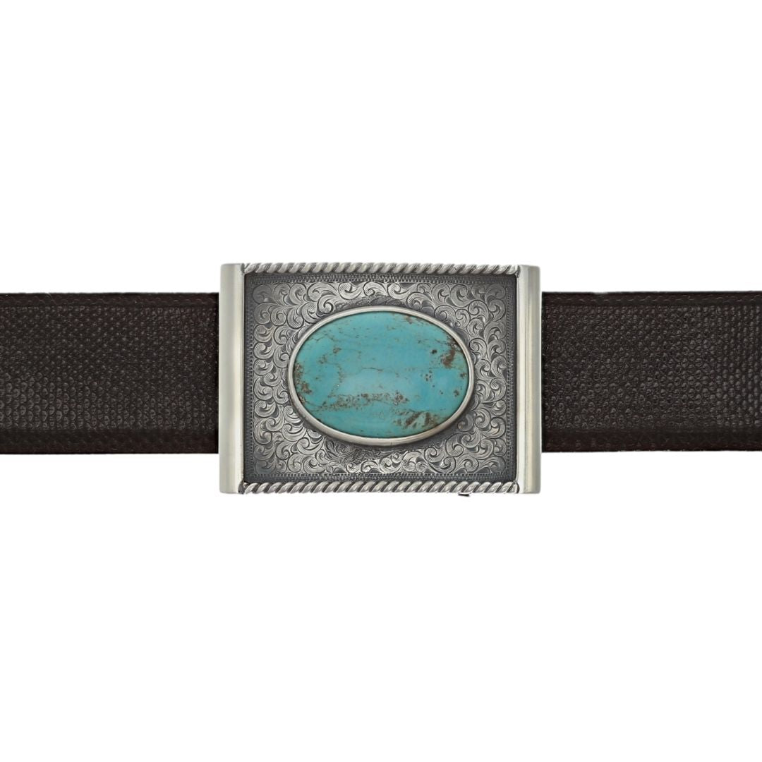 Gonzales 1800 Antique Engraved Turquoise Buckle
