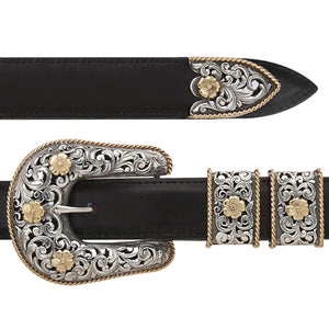 Pecos 1892 Filigreed 18k gold & Silver Buckle Set