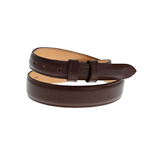 Tapered Smooth Italian Calf Stitched Edge Belt