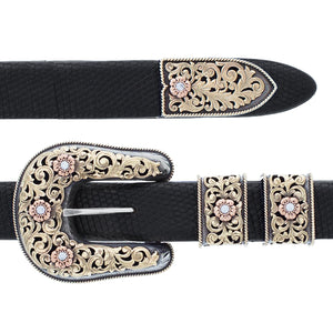 Pecos 2048 Yellow, Rose & Green Gold Buckle Set