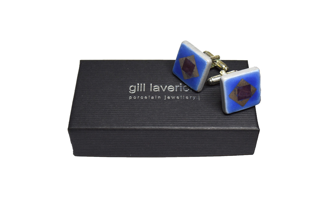 Gill Laverick Blue Square Cufflinks