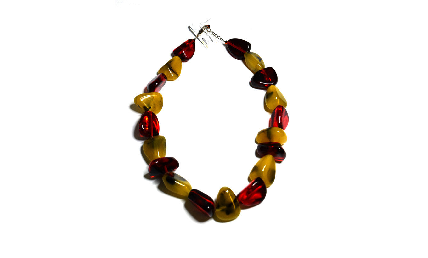 Jackie Brazil Red & Orange Pebble Necklace