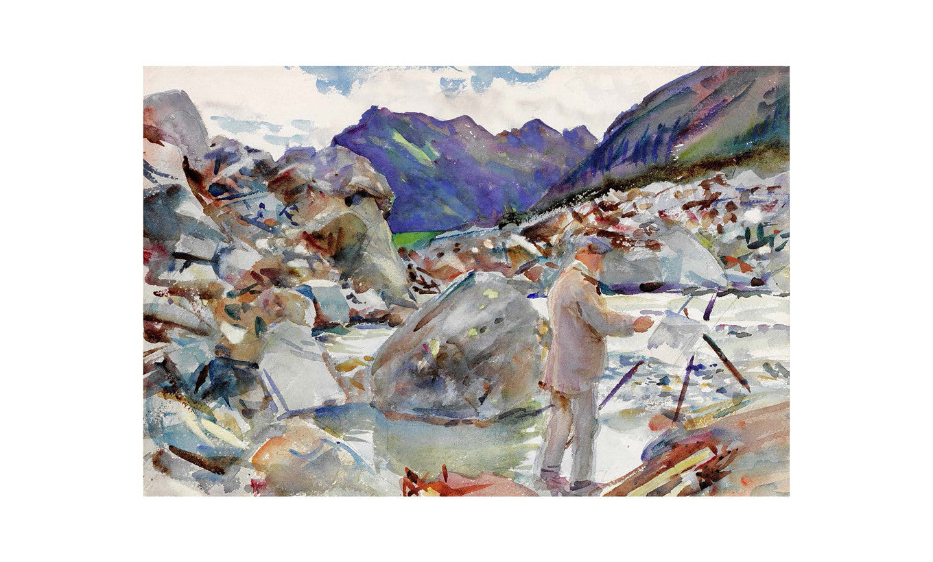 A Glacier Stream In the Alps Mounted Mini Print