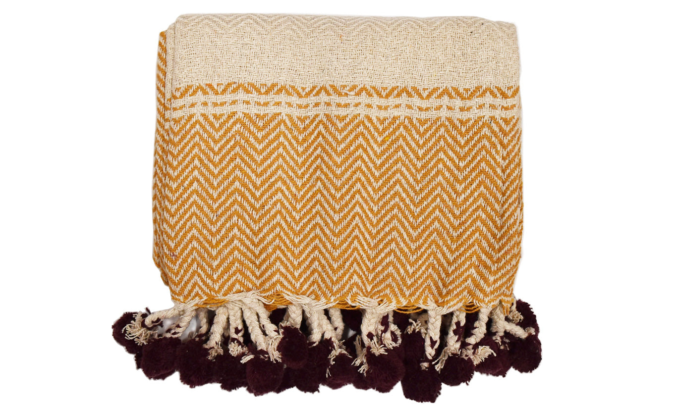 Pompom Tassel Throw