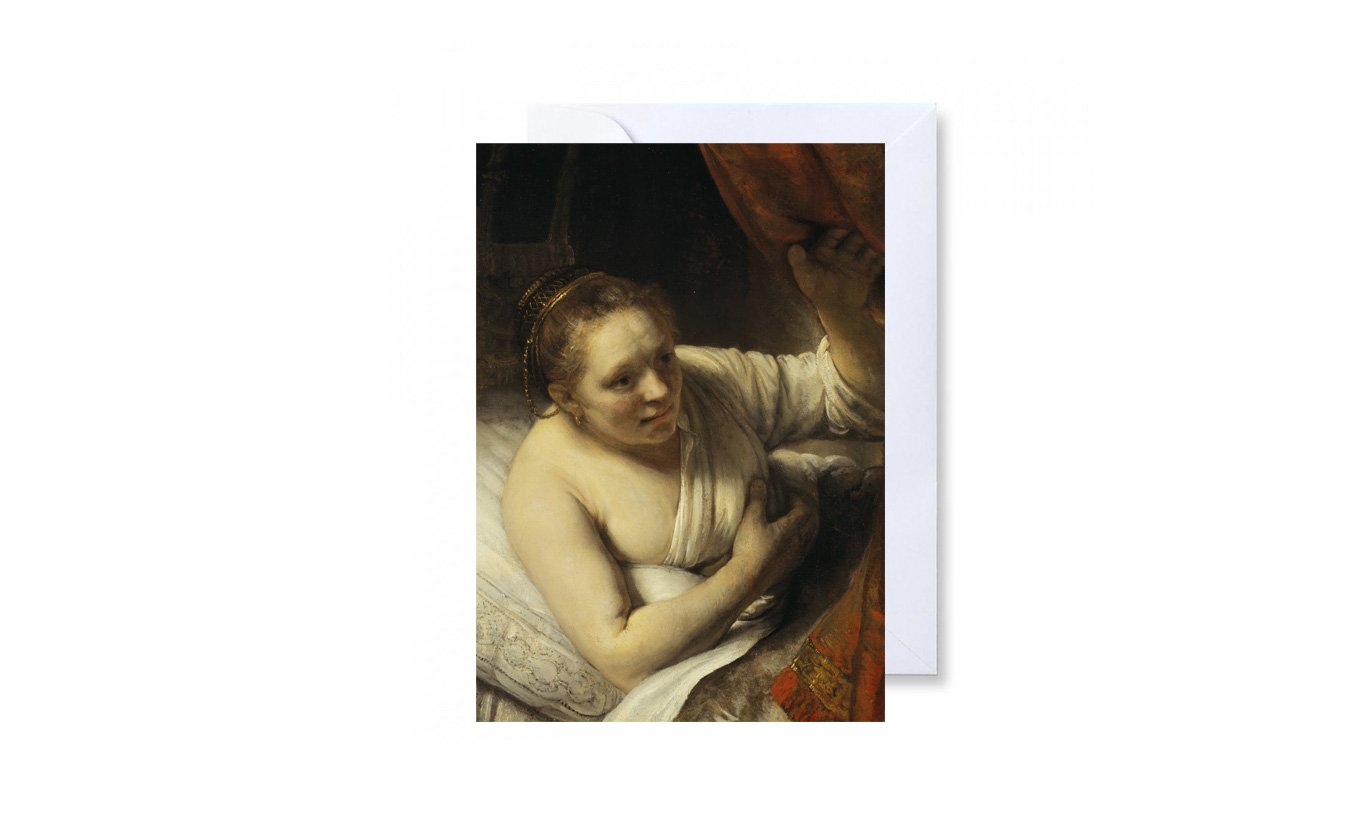 A Woman in Bed Greetings Card