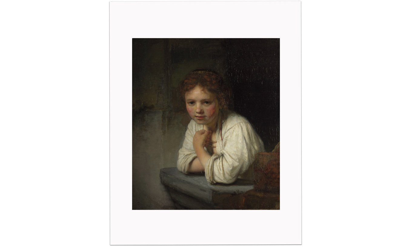 Girl at a Window Mounted Print