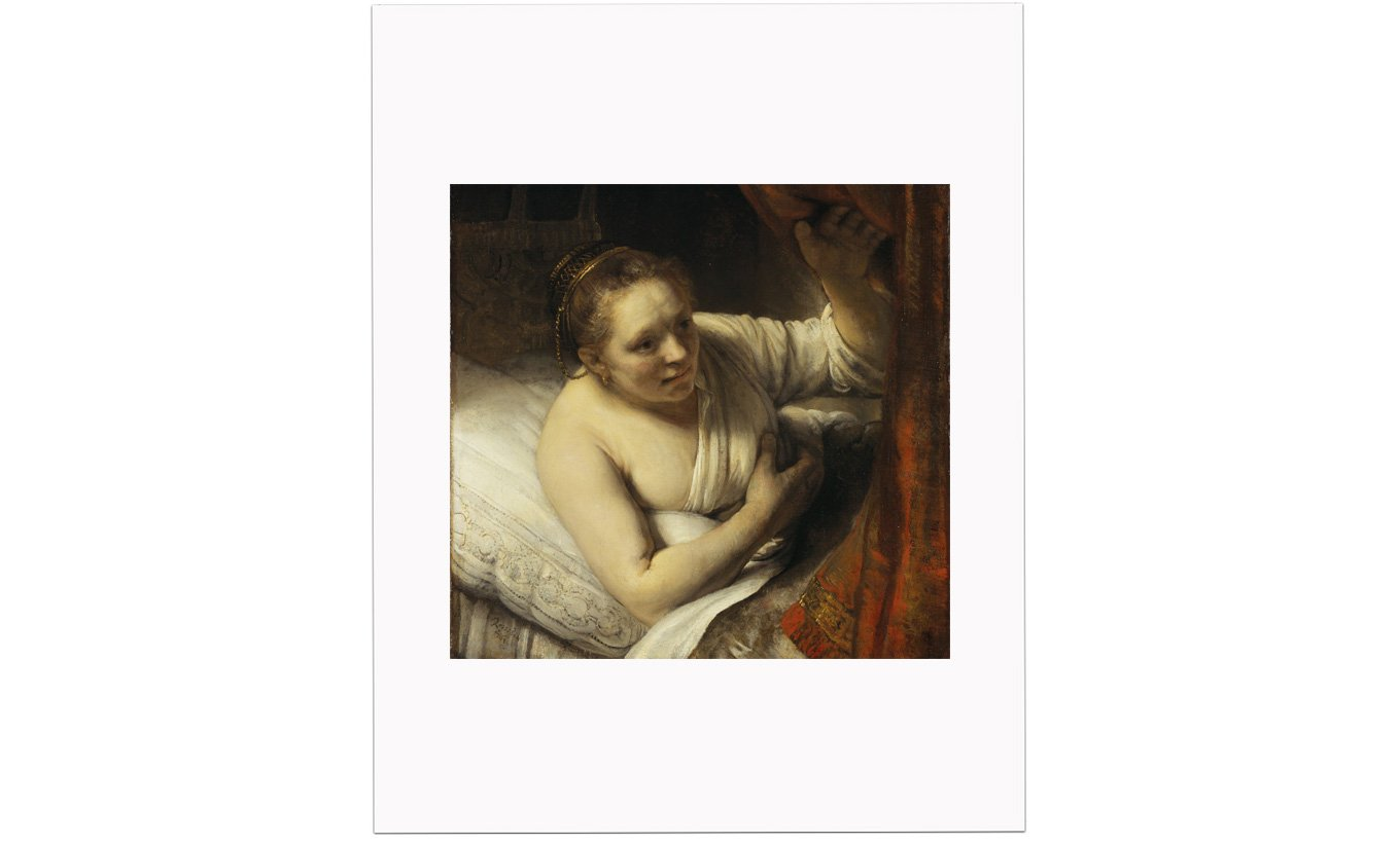 A Woman in Bed Mounted Print