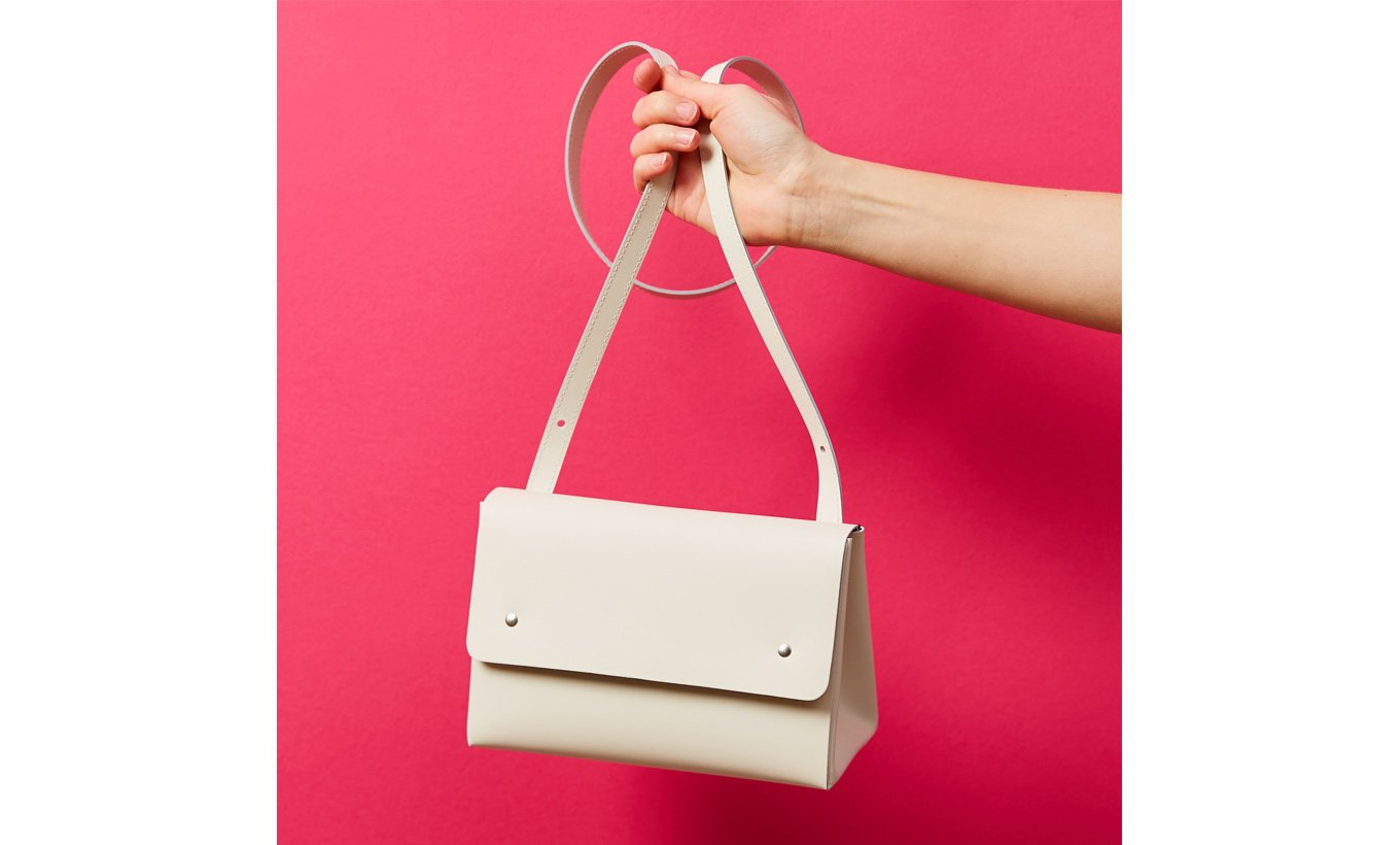 Leather Shoulder Bag Triangle Bucket White