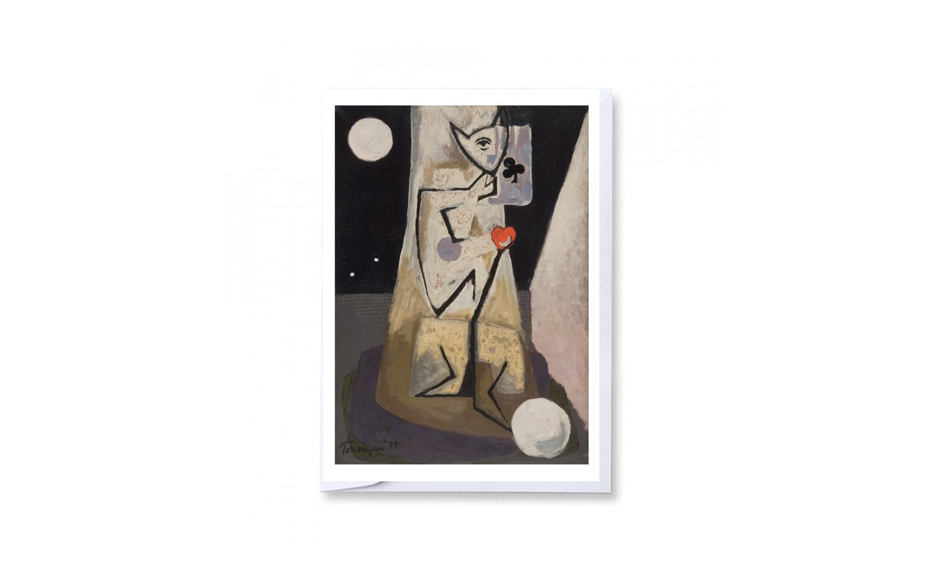 Standing Figure with Ace of Clubs Greetings Card